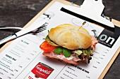 A mini ham sandwich