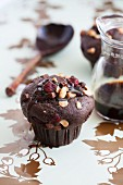 Chocolate muffins with sugar beet syrup, nuts and cranberries
