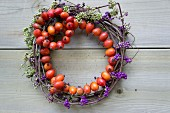 Wreaths of beautyberries and rosehips