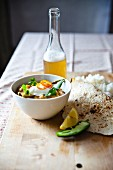 Lentil curry with green beans, basmati rice, chapati and beer