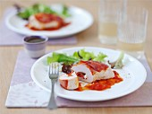 Stuffed turkey breast with manchego and red pepper sauce