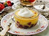 Blueberry clafoutis with cream