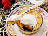 Blueberry claufoutis with cream