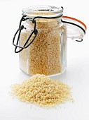 Couscous in a flip-top jar