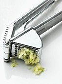 Garlic in a garlic press