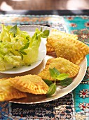 Indian samosas with mint lettuce