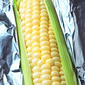 A corn cob in foil