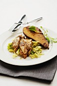 Chicken with savoy cabbage and fried brie