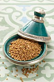Fenugreek seeds in a tagine