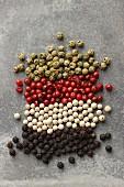 Verschiedene Pfefferkörner (schwarz, weiss, rot, grün)