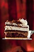 A piece of Black Forest gateau on a cake slice