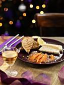 Salmon terrine with smoked salmon on a festive table