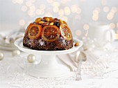 Christmas pudding and custard