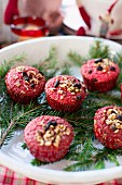 Red hazelnut muffins for Christmas