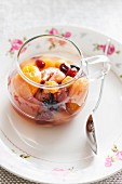 Dried fruit compote in a glass cup