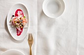 Grouper ceviche with horseradish, beetroot and radishes