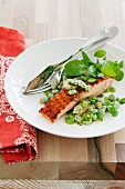 Salmon with a bean medley