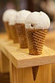 Vanilla ice cream in cones in a cone rack