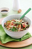 Oriental beef salad with noodles and vegetables