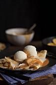 Pancakes with banana, vanilla ice cream and caramel sauce