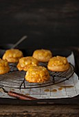 Pineapple cakes on a wire rack