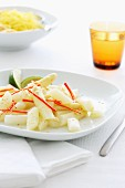 White asparagus salad with a lime dressing