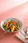 Courgette salad with chilli rings