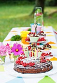 Cake for a party on a table in a garden