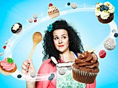 A woman surrounded by flying cupcakes