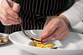 A chef putting a dish together on a plate