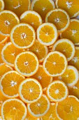 Orange slices seen from above
