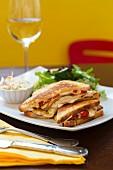 Turkey breast and pepper sandwich