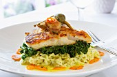 Cod fillet with green kale on lemon risotto rice