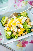 Chickpea and broccoli salad with chopped egg