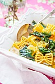 Spring soup with pasta and chard (close-up)