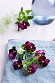 Small wreath of purple violas