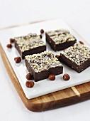 Chocolate slices with chopped hazelnuts