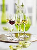 Rotwein und Weisswein in Shotgläsern