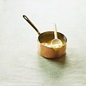Vanilla cream in a saucepan