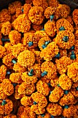 Marigold garlands at a flower market in Mumbai, India