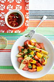 Exotic fruit salad with chilli and coriander