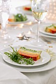 Multicoloured fish terrine