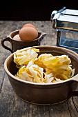 Tagliatelle and eggs