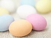 Pastel-coloured chocolate eggs