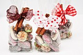 Christmas confectionery in cellophane bags as gifts