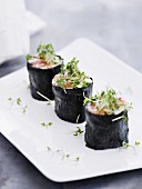 Three salmon makis