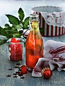 Homemade peppermint schnapps with red sweets