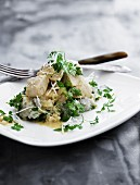 Chicken with horseradish and chervil on a bed of rice