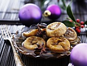 Dried figs in a spiced syrup for Christmas