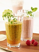 A power drink made with cucumber and chervil and a raspberry and papaya shake